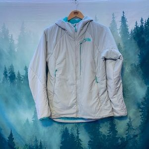 The North Face women's gray/blue puffer jacket